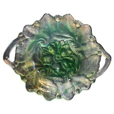 Indiana Glass Wild Rose Green Cake Plate Handled 12 IN