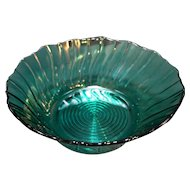 Jeannette Depression Glass Swirl Ultramarine Blue Green Salad Serving Bowl 9 IN