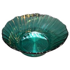 Jeannette Depression Glass Swirl Ultramarine Blue Green Salad Serving Bowl 9 IN