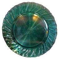 Jeannette Depression Glass Swirl Ultramarine Blue Green Sandwich Plate Round Platter 12 IN