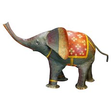 Metal Elephant Figurine Hand Painted Made in India