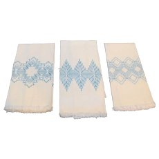 3 Hand Loomed Embroidered White Blue Tea Towels Hand Towels