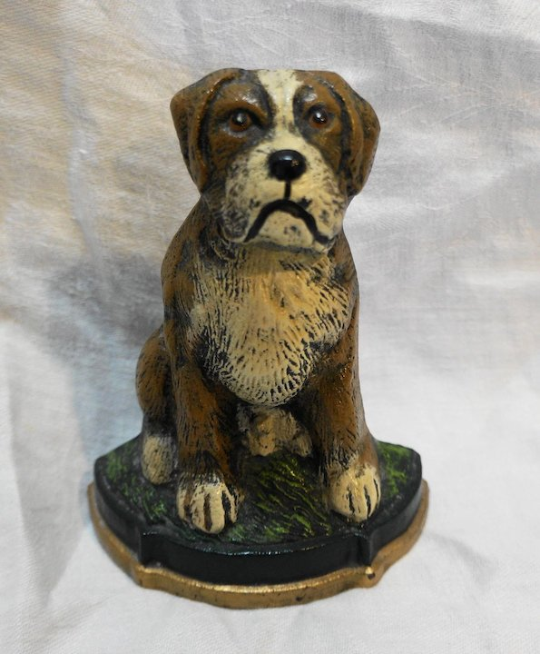 Cast Iron Door Stop Dog Boxer St Bernard Wedge Back Hoosier