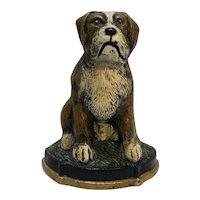 Cast Iron Door Stop Dog Boxer St Bernard Wedge Back