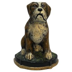 Cast Iron Door Stop Dog Boxer St Bernard Wedge Back