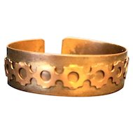 Copper Cuff Bracelet Riveted Row Gears