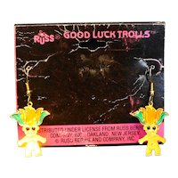 Russ Good Luck Trolls Gold Tone Enamel Earrings New Old Stock