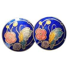 Cloisonne Butterfly Flower Round Blue Earrings Clips