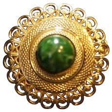 Gold Tone Filigree Green Cab Scarf Clip