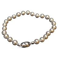 Monet Silver Tone Faux Pearls Bead Bracelet