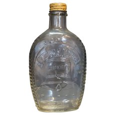 Log Cabin Liberty Bell Bicentennial Syrup Bottle 1976 Clear Glass