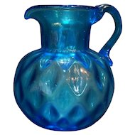 Electric Blue Diamond Optic Art Glass Pitcher