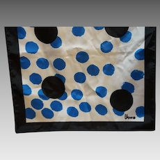 Veresa by Vera Blue Black White Polka Dot Oblong Scarf Polyester Made in Japan