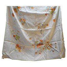 Cream Floral Orange Grey Silk Rayon Blend Scarf 30 IN