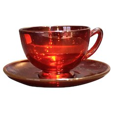 Viking Art Glass Ruby Red Cup Saucer