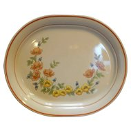 Corning Royal Garden Cornerstone 12 IN Oval Platter Orange Flowers