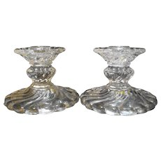 Fostoria Colony Single Light Candle Holders Pair Clear Glass