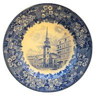 Wedgwood Historical Blue & White Boston Series-Old South Church Bluebells Border