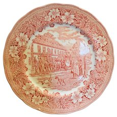 Royal Tudor Ware Coaching Taverns Red Pink Transferware Dinner Plate