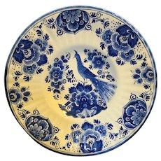 Delft Blue Holland Peacock Flowers Cabinet Plate Bowl 12 IN