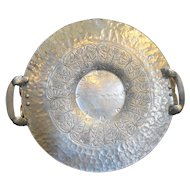 Continental Hand Wrought Hammered Aluminum Acorn Oak Round Tray 15 IN