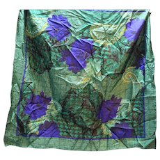 Christian Dior Silk Scarf Green Blue Tweed Floral Paisley Print