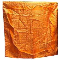 Anne Klein Silk Scarf Orange White Polka Dots 21 IN