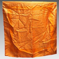 Anne Klein Silk Scarf Orange White Polka Dots 21 IN