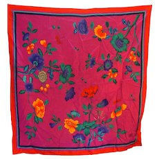 Bright Floral Silk Scarf Made in Italy 34 IN