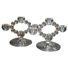 Imperial Candlewick Triple Light Candle Holders Pair 400 Line