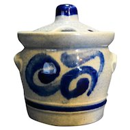 Marzi Remy 3057 Germany Pottery Condiment Jar Cobalt Blue Scrolls