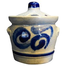 Marzi Remy 3057 Germany Pottery Condiment Jar Cobalt Blue Scrolls