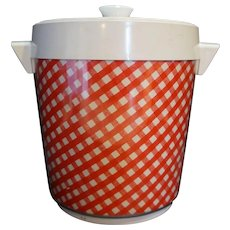 Thermo Serv Red White Gingham Plaid Insulated Ice Bucket