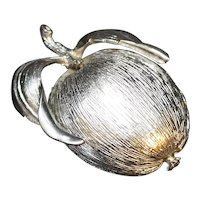 Sarah Coventry Silver Tone Brushed Adam's Delight Apple Pin Brooch