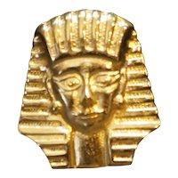 King Tut Tuthankhamun Head Pharaoh Egypt Theme Gold Tone Brooch Pin