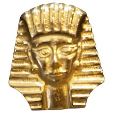 King Tut Tuthankhamun Head Pharaoh Egypt Theme Gold Tone Brooch Pin