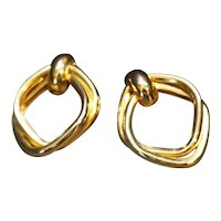 Gold Tone Tube Pipe Diamond Shape Earrings Post Backs