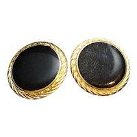 Black Enamel Disc Circle Earrings Gold Tone Rope Border
