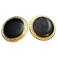Black Enamel Disc Circle Earrings Gold Tone Rope Border