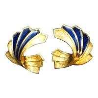 Blue Enamel Gold Tone Fan Ribbon Earrings