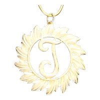 T Initial Script Pendant Necklace Brushed Gold Tone Signed Glamour