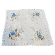 Blue Yellow Floral Print Cotton Ladies Handkerchief
