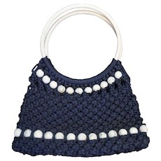 Navy Blue Cord Macrame Purse White Marbled Lucite Hoop Ring Circle Handles Balls