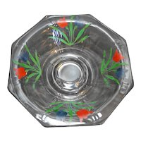 Depression Glass Clear Octagon 8 Panel Pedestal Bowl Hand Painted Tulips