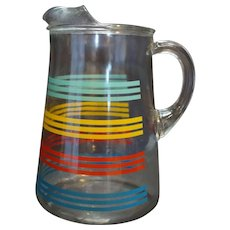 Striped Glass Pitcher Vintage Kitchenware Teal Yellow Red