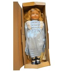 Heidi Ott Anne Kathy 18 IN Vinyl Hand Painted Doll NIB Switzerland 1986 Blue