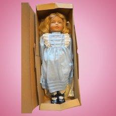 Heidi Ott Anne Kathy 18 IN Vinyl Hand Painted Doll NIB Switzerland 1986 Blue