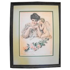 Howard Chandler Christy Print New Year's Resolution 1906 Framed 15 x 19