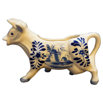 Hand Painted Delft Blue Cow Creamer Made in Korea