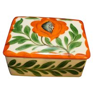 Erphila Art Pottery Czechoslovakia Orange Flower Hand Painted Trinket Box